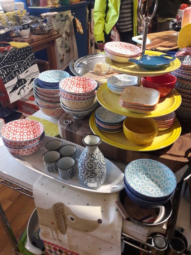 handmade crockery, bright and colourful, granville island, vancouver