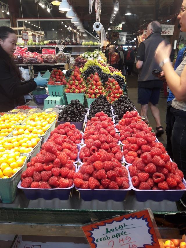 fresh fruit, raspberries, fruit, berries, granville island public market, vancouver, travel, travel blog, cabin crew blog, flight attendant blog