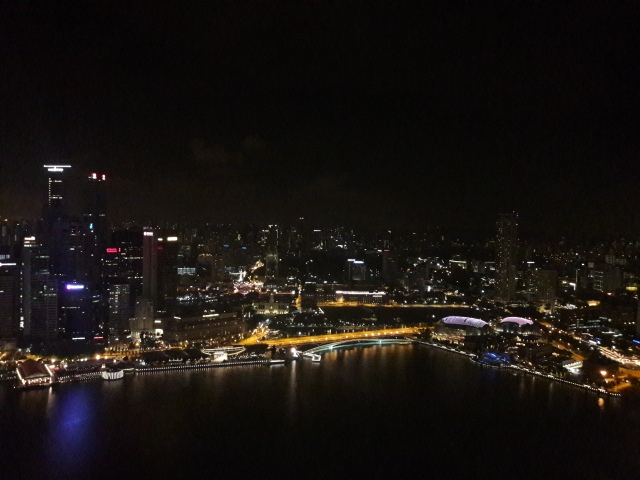 view from marina bay sands, marina bay sands at night, singapore