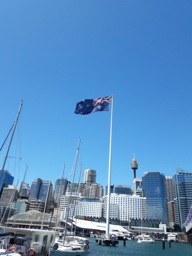 Australian flag, darling harbour, sydney, travel, travel blog, cabin crew blog, flight attendant blog