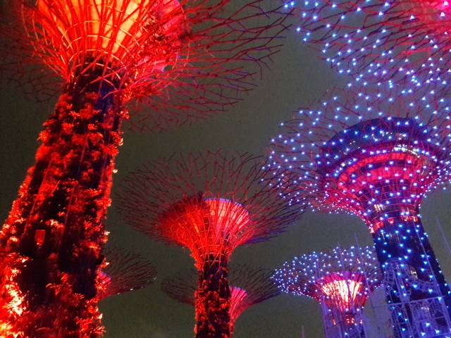 gardens by the bay light show, singapore, travel blog, cabin crew blog, flight attendant blog